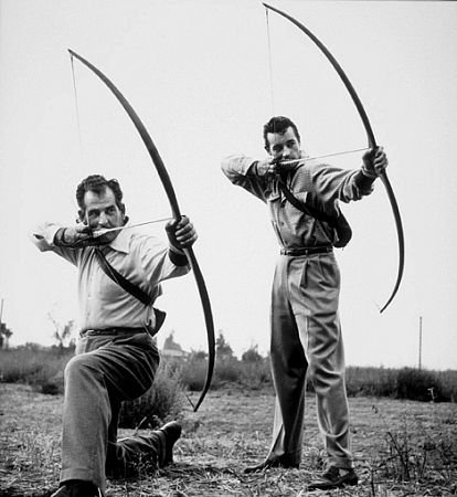 Howard Hill and Guy Madison in 1953. Photo by Sid Avery..jpg